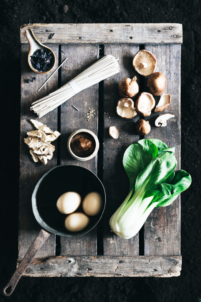 mushroom ramen photography, food photography, ingredients